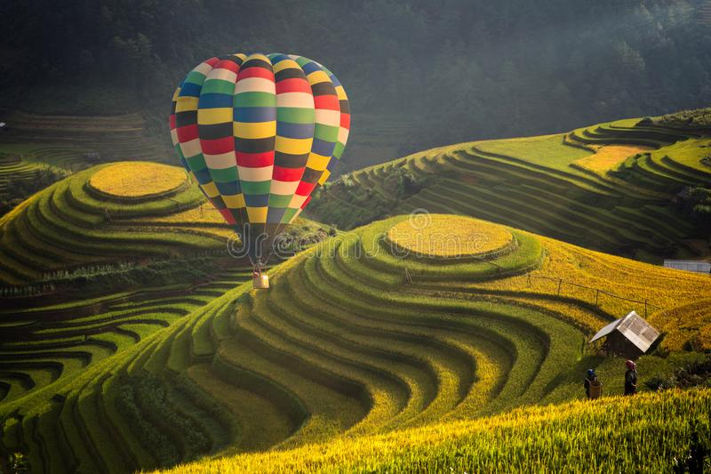 Heißluftballon über Reisfeld in MU-cang Chai lizenzfreie stockfotografie