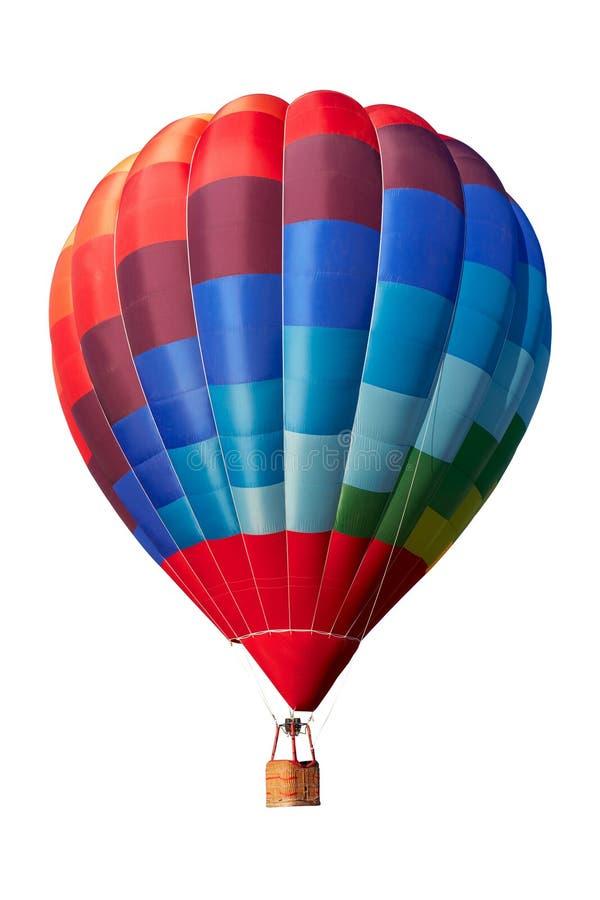 Heißluftballon, buntes Luftfahrzeug auf Weiß, Beschneidungspfad lizenzfreies stockbild