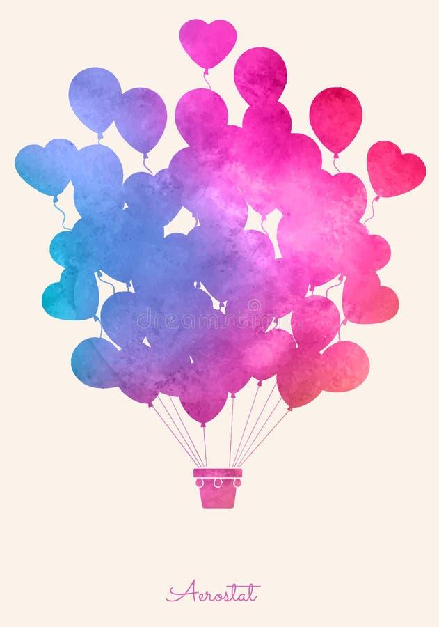 Heißluftballon der Aquarellweinlese Festlicher Hintergrund der Feier mit Ballonen stock abbildung