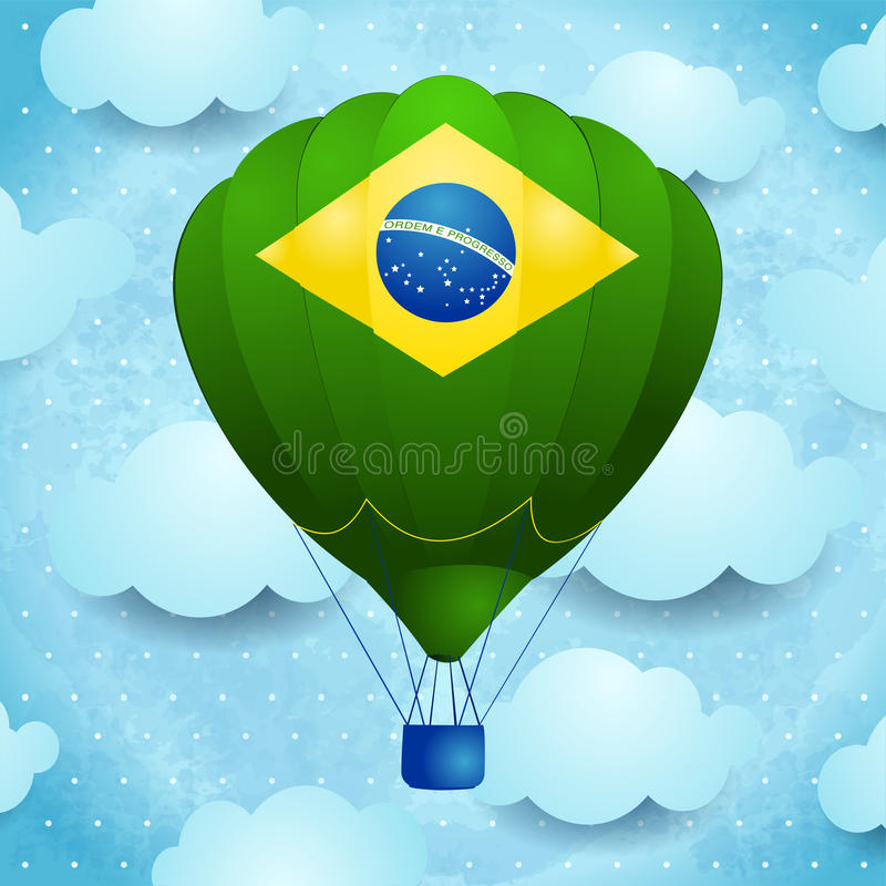 Heißluftballon mit brasilianischen Farben lizenzfreie abbildung