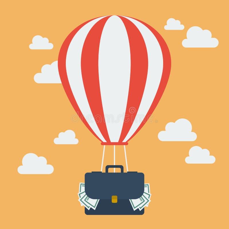 Heißluftballon mit dem Koffer voll vom Geld lizenzfreie abbildung