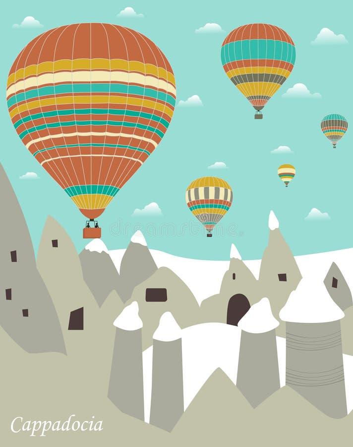 Heißluftballone in Cappadocia vektor abbildung