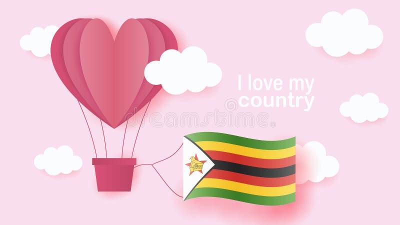 Heißluftballone in Form des Herzfliegens in den Wolken mit Staatsflagge von Simbabwe Papierkunst und Schnitt, Origamiart mit Lieb stock abbildung