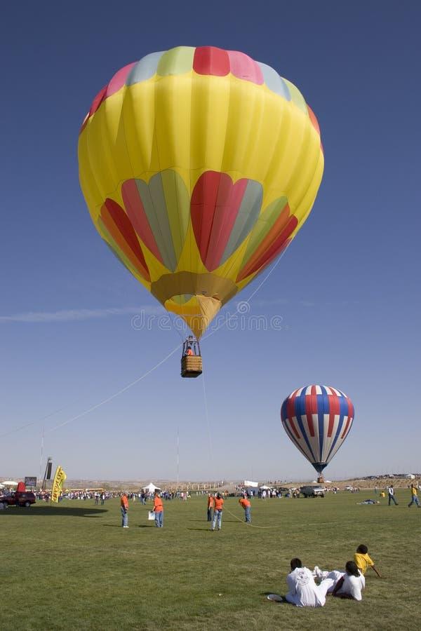 Heißluftballonprodukteinführung lizenzfreies stockbild