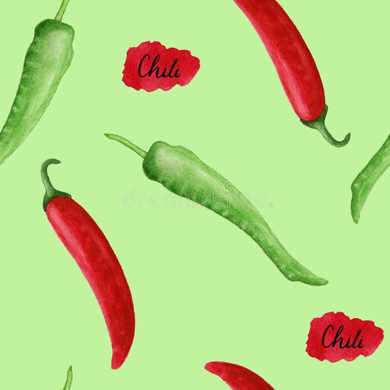 Hei?er Chili Pepper Seamless Pattern stockbilder