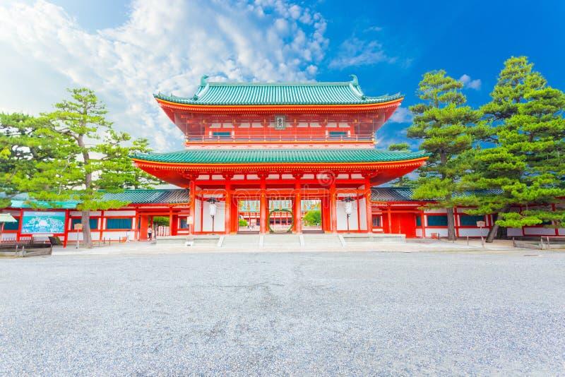 Heian-Jingu Blauwe Hemel H van de Heiligdom de Hoofdingang ro/ro-Mon stock foto's