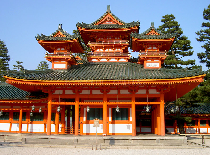 Heian Shrine. A detail of traditional Japanese architecture from Heian Shrine one of the biggest temple in Kyoto Japan Browse my Japanese landmarks collection