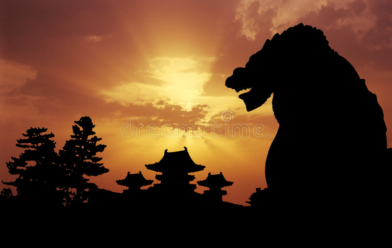 Heian Temple sunset royalty free illustration