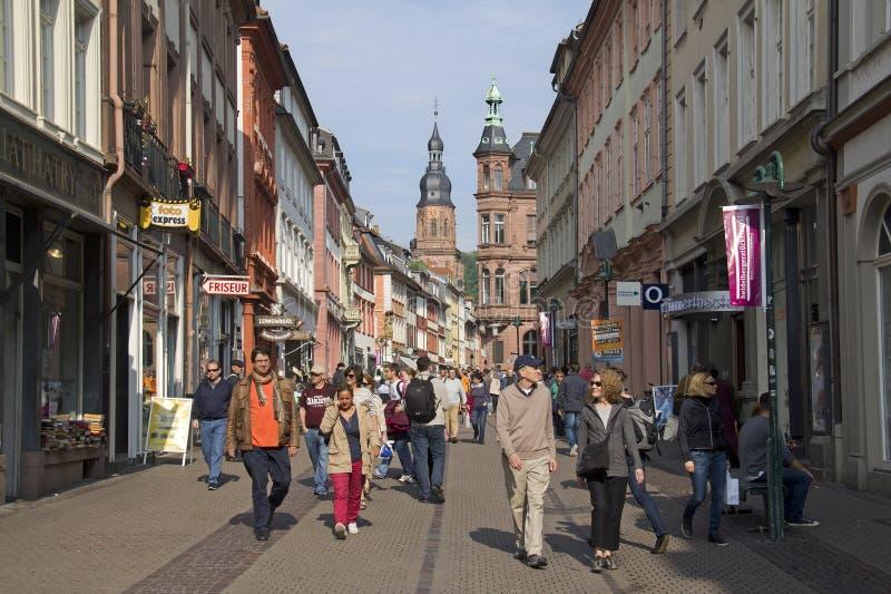 Heideberg huvudsaklig gata, Tyskland royaltyfria foton