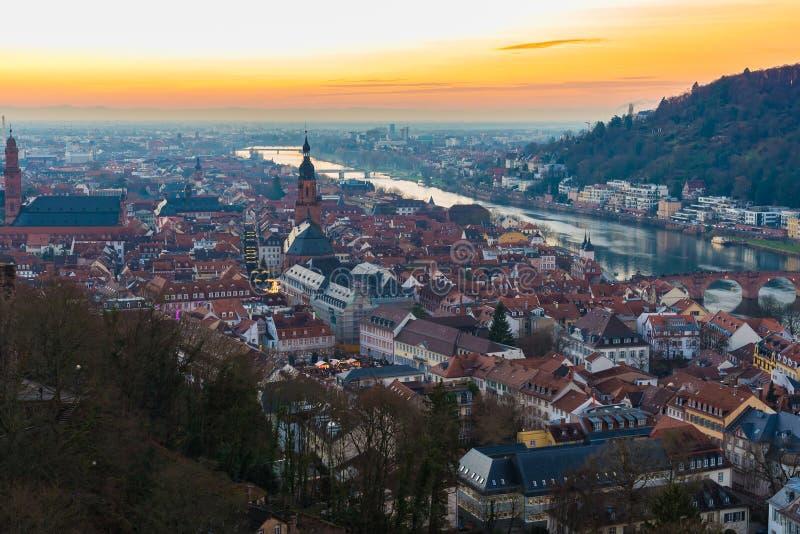 Heidelberg bij zonsondergang royalty-vrije stock afbeeldingen