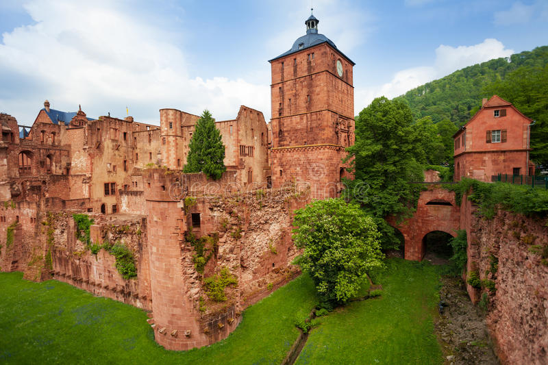 Heidelberg castle fragment view during daytime. And summer in Heidelberg, Germany royalty free stock photos