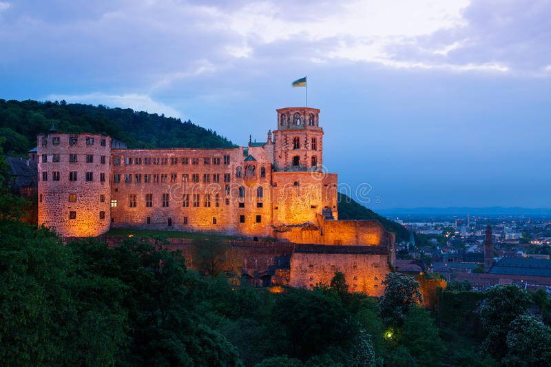Heidelberg castle during night time enlightened royalty free stock images