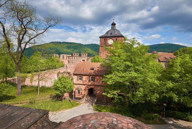Heidelberg castle in Spring. Entrance gates royalty free stock photography