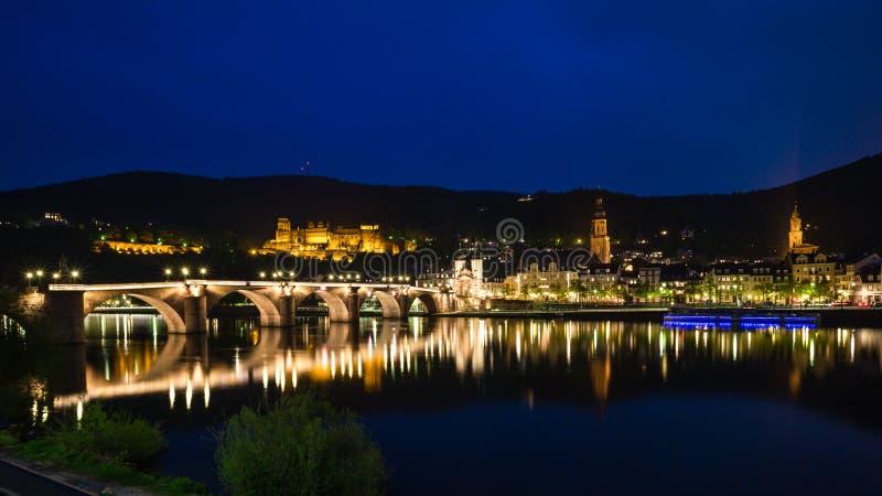 Heidelberg en la noche foto de archivo libre de regalías