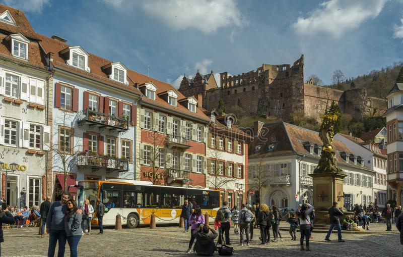 Heidelberg fyrkant, Tyskland arkivfoto