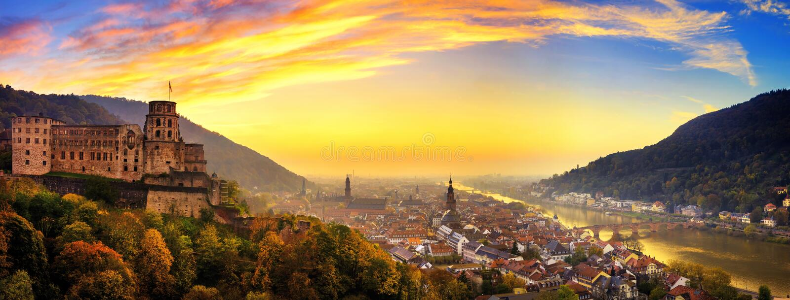 Heidelberg, Germany, with colorful dusk sky. Heidelberg, Germany, aerial panoramic view at dusk, with colorful sunset sky, the castle, Neckar river and the Old royalty free stock photography
