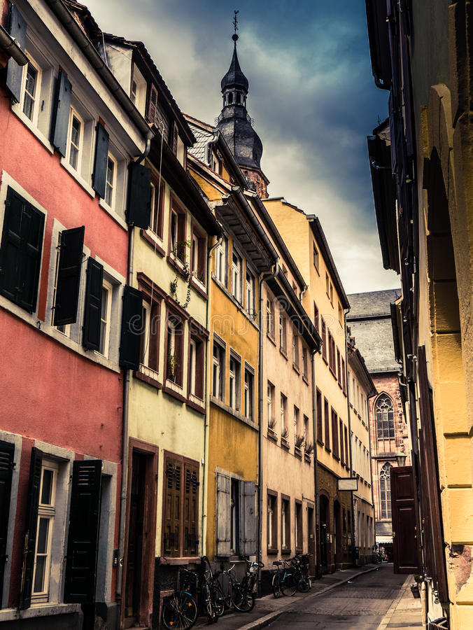 Heidelberg Germany. A European Backstreet In Medieval Heidelberg, Germany stock photos