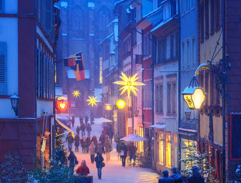 Heidelberg, Germany. In winter. View over the illuminated for Christmas pedestrian street royalty free stock images