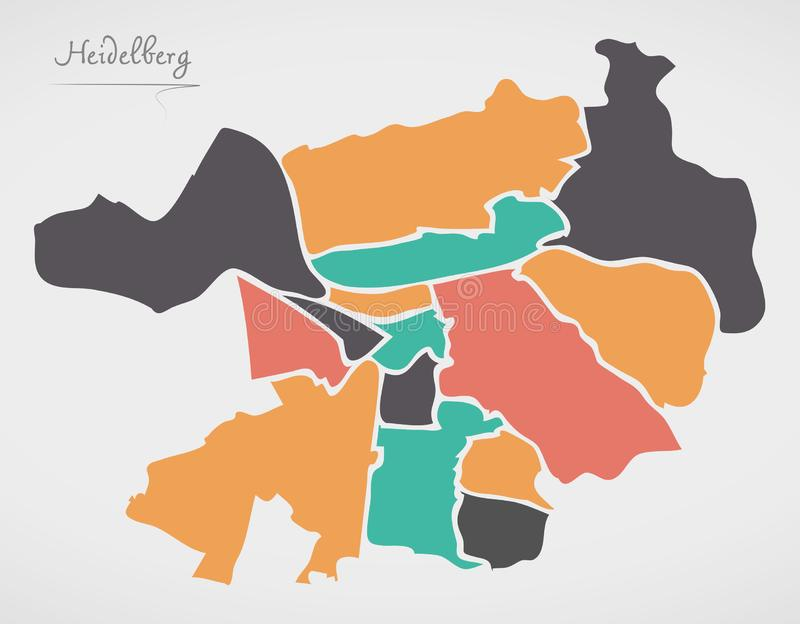 Heidelberg Map with boroughs and modern round shapes. Illustration vector illustration