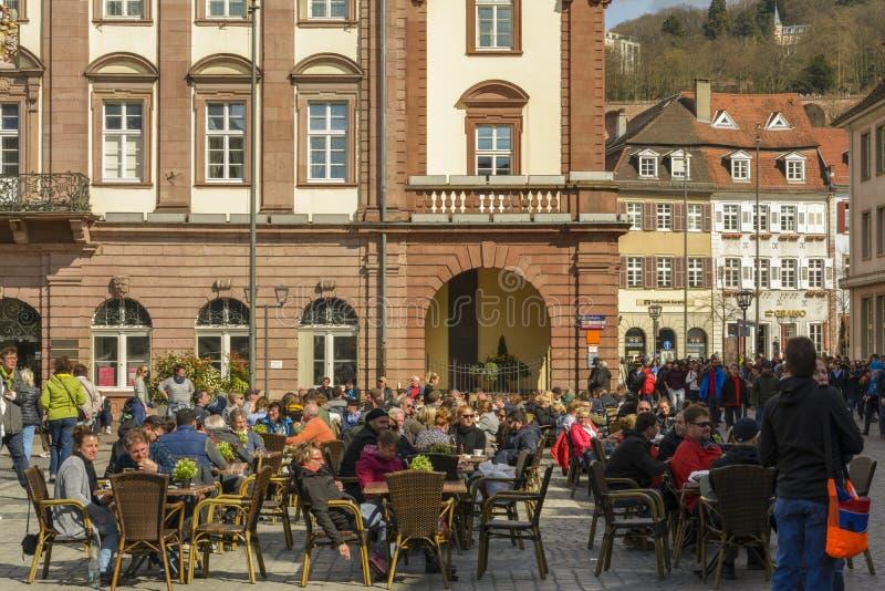 Heidelberg Marktplatz fyrkant, Tyskland arkivfoton