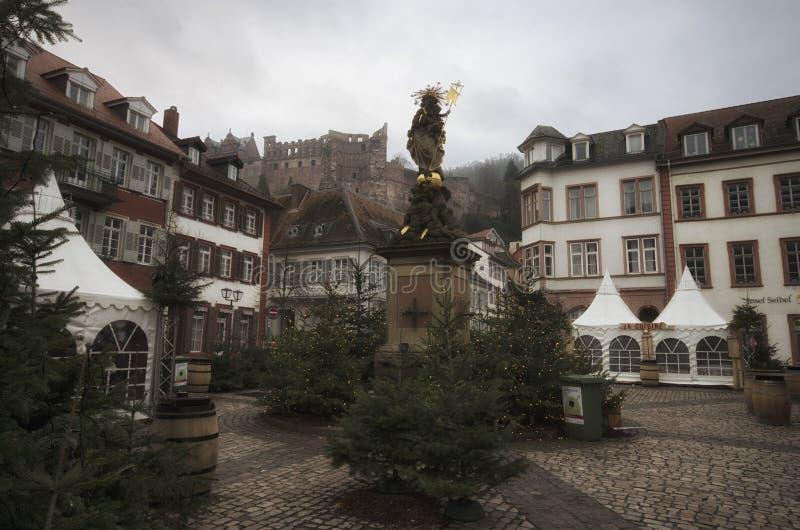 /: Heidelberg, Niemcy, Styczeń 1, 2016 - Rynek przy New roku dniem przy Heidelberg obrazy stock