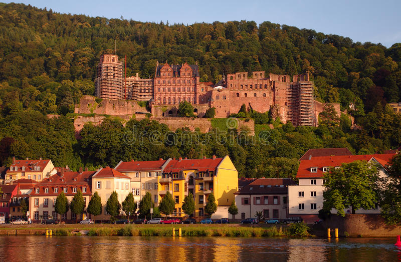 Heidelberger Schloss am Sonnenuntergang stockfoto