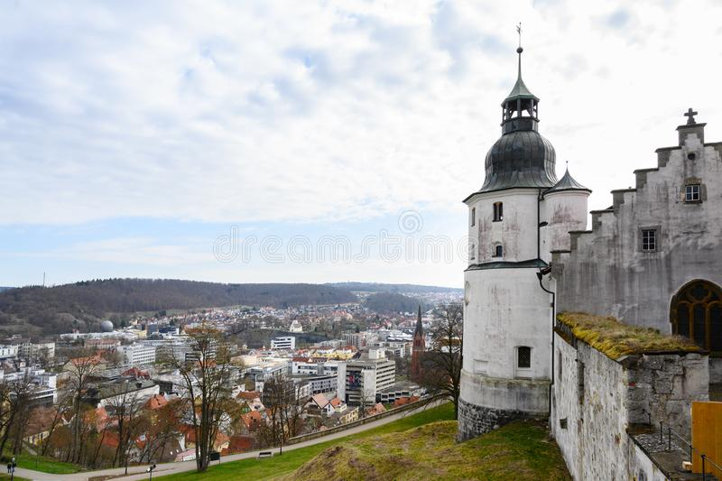 HEIDENHEIM, GERMANY, APRIL 7, 2019: view from the castle Hellenstein over the town Heidenheim an der Brenz in southern Germany. Against a blue sky with clouds stock photos
