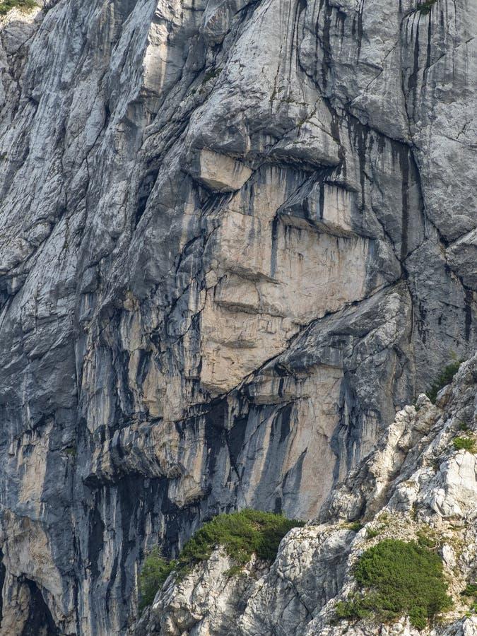 Heidense deklica van Meisjesajdovska een gezicht in de noordelijke muur van Prisank-berg royalty-vrije stock foto