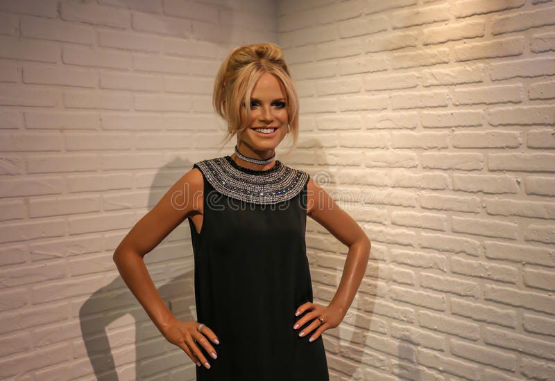 Heidi Klum. Heidi Klum in the Madame Tussauds museum. Madam Tussaud attraction, many tourists looking for it in Amsterdam. Place an unforgettable holiday! 28/09 royalty free stock images