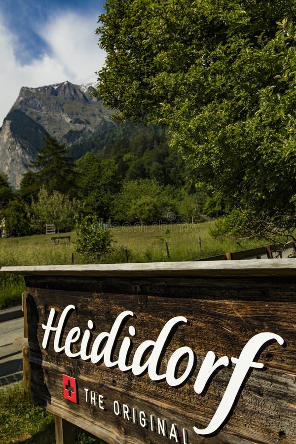 Heidihaus Johanna Spyri Heidiwelt w Heididorf i exibit, Switz zdjęcia stock