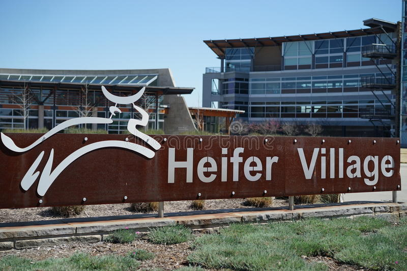 Heifer Village entrance signage. The LEED certified buildings of Heifer International headquarters are energy efficient and economical to operate royalty free stock photo