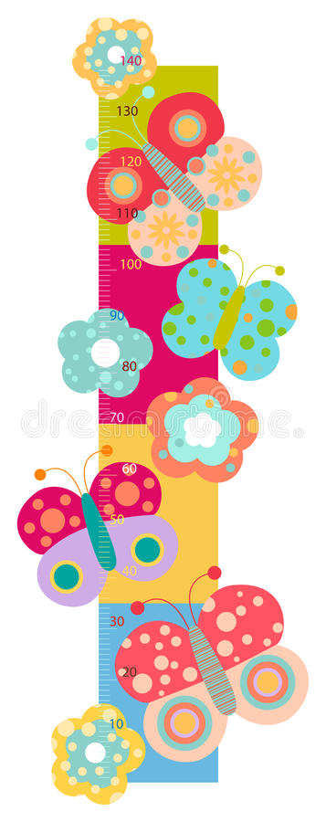Height chart for kids. Height chart with flowers and butterflies royalty free illustration