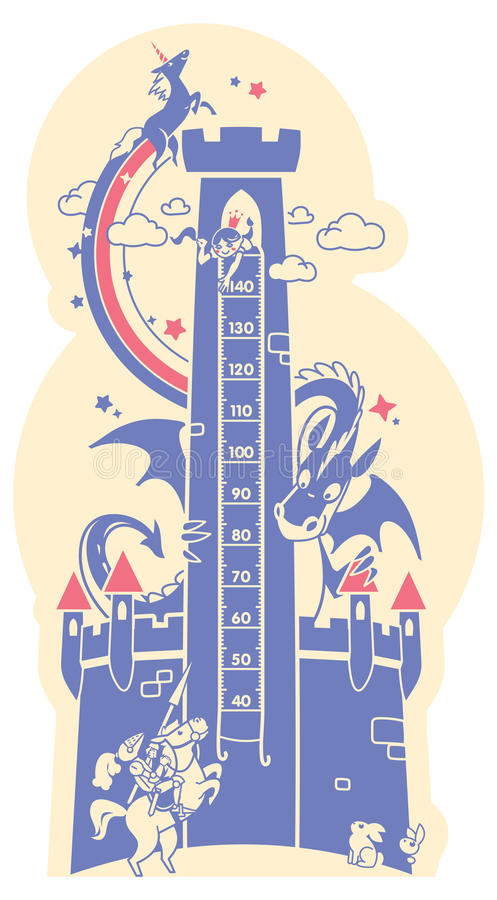 Height charts. Fairytale castle, Meter wall or height meter from 40 to 140 centimeter. vector illustration