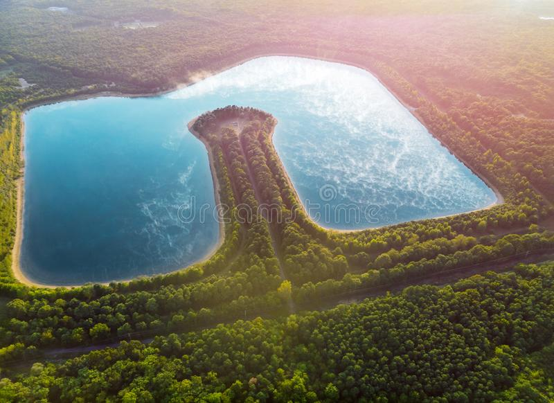Height lake aerial view on landscapes stock photography