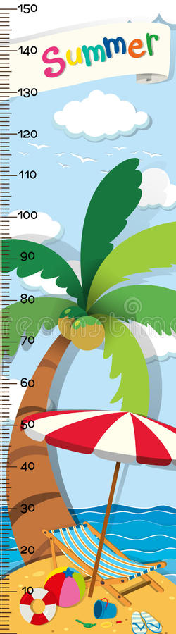Height measurement chart with beach background stock illustration