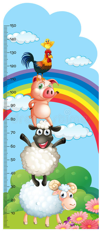Height measurement chart with farm animals in background vector illustration
