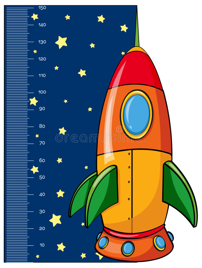Height measurement chart with rocket vector illustration