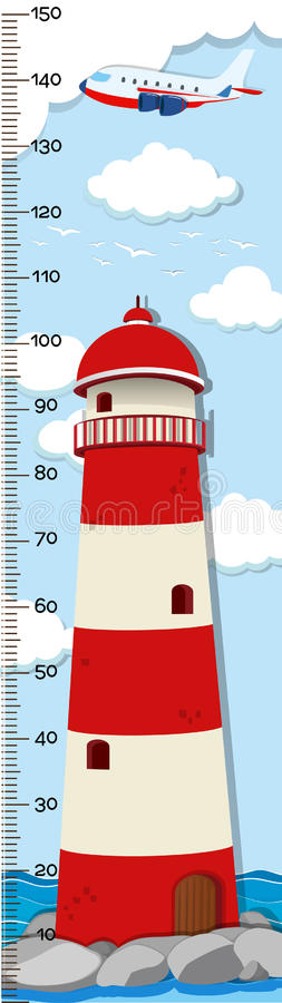 Height measurement chart template with lighthouse in background stock illustration