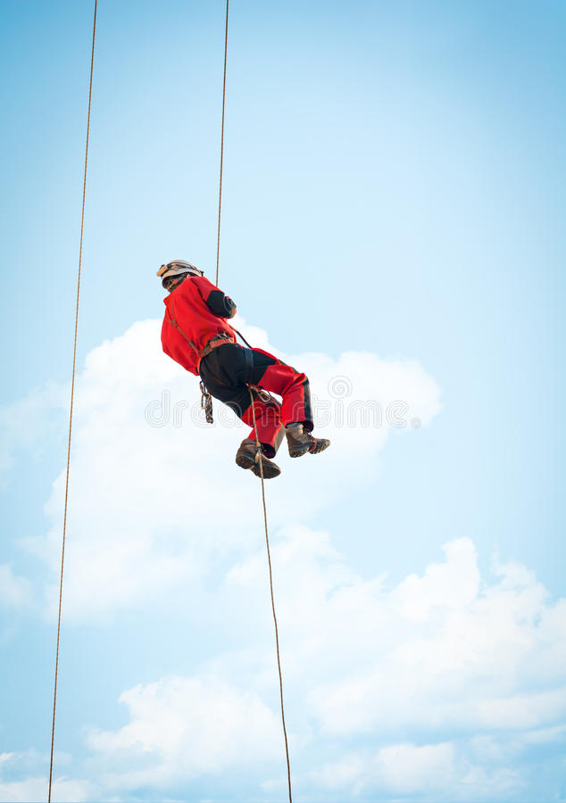 Height rescue squad of firebrigade. Member of height rescue squad, during a fire training exercise royalty free stock images