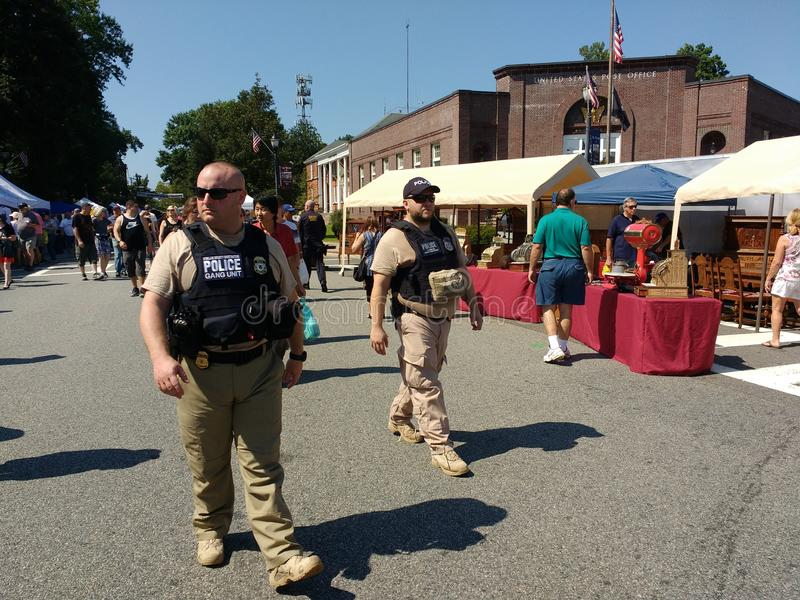 Law Enforcement Officers On Patrol, Rutherford, NJ, USA stock image