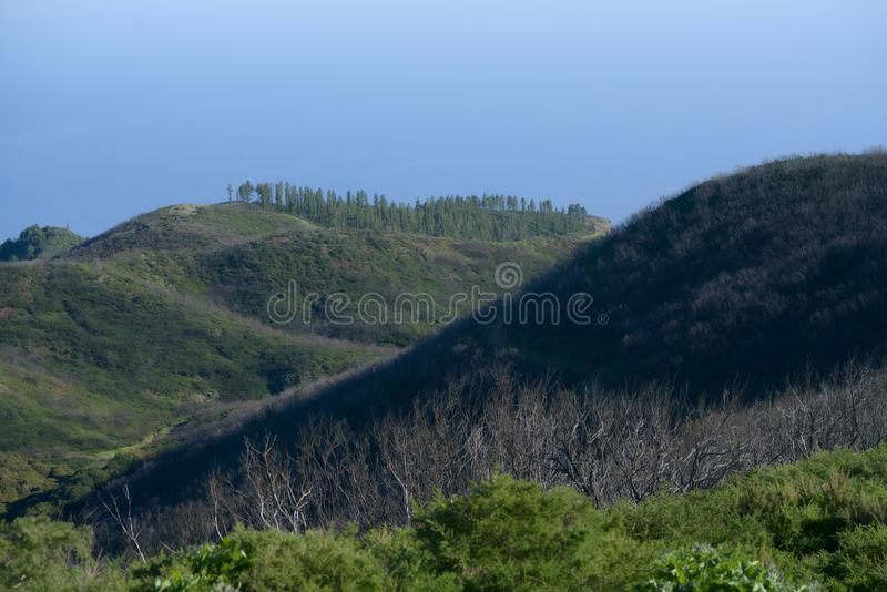 Heights of the mountains. On the top of the mountains of La Gomera stock image