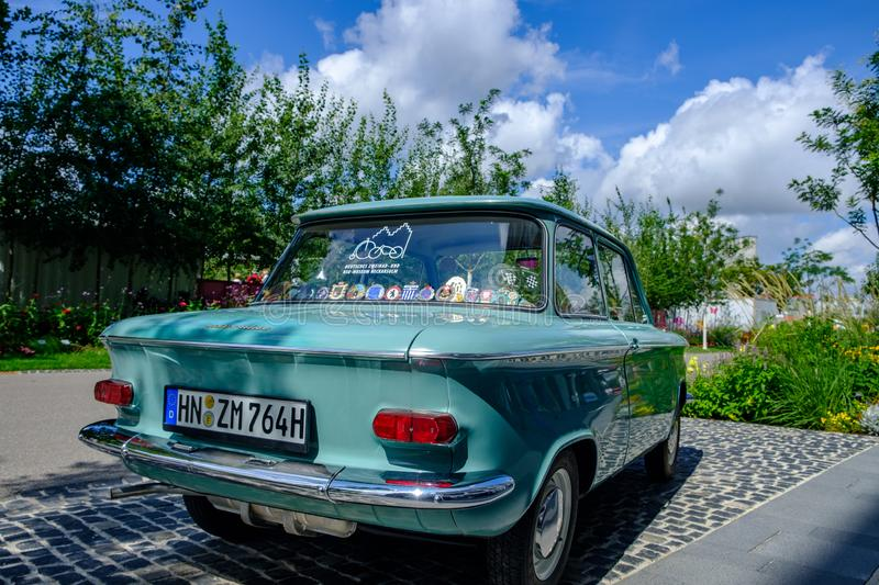 An old NSU Prinz car exhibited at the 2019 Federal Garden Show BUGA in Heilbronn, Germany stock photos