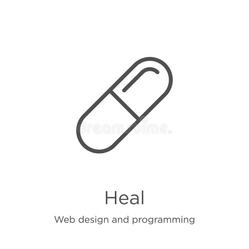heilen Sie Ikonenvektor vom Webdesign und von Programmierungssammlung Dünne Linie heilen Entwurfsikonen-Vektorillustration Entwur lizenzfreie abbildung
