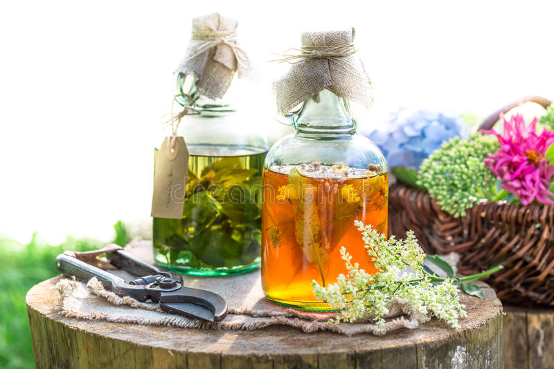 Heilende Kräuter in den Flaschen als alternativen Heilung stockbilder