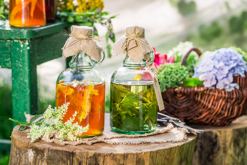 Heilende Kräuter in den Flaschen mit Alkohol und Kräutern lizenzfreie stockfotos