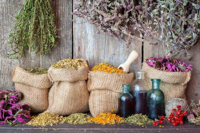 Heilende Kräuter in den Taschen des groben Sackzeugs und Flaschen ätherisches Öl lizenzfreies stockfoto