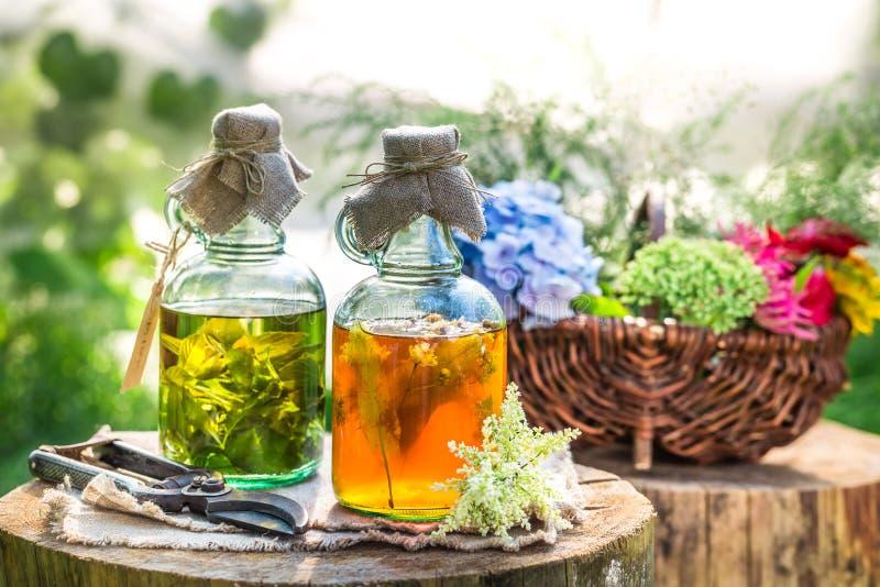 Heilende Tinktur in den Flaschen mit Alkohol und Kräutern lizenzfreies stockfoto