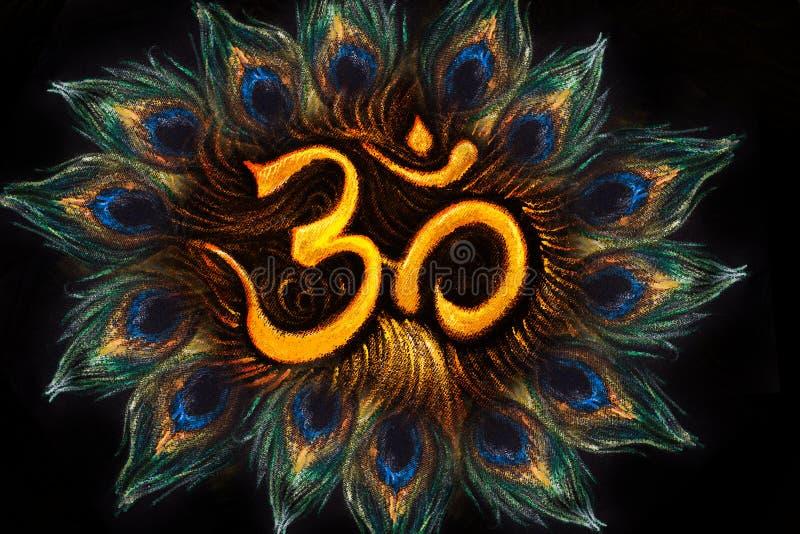 Heilig aum sanscritisch symbool in cirkel van pauwveren royalty-vrije illustratie
