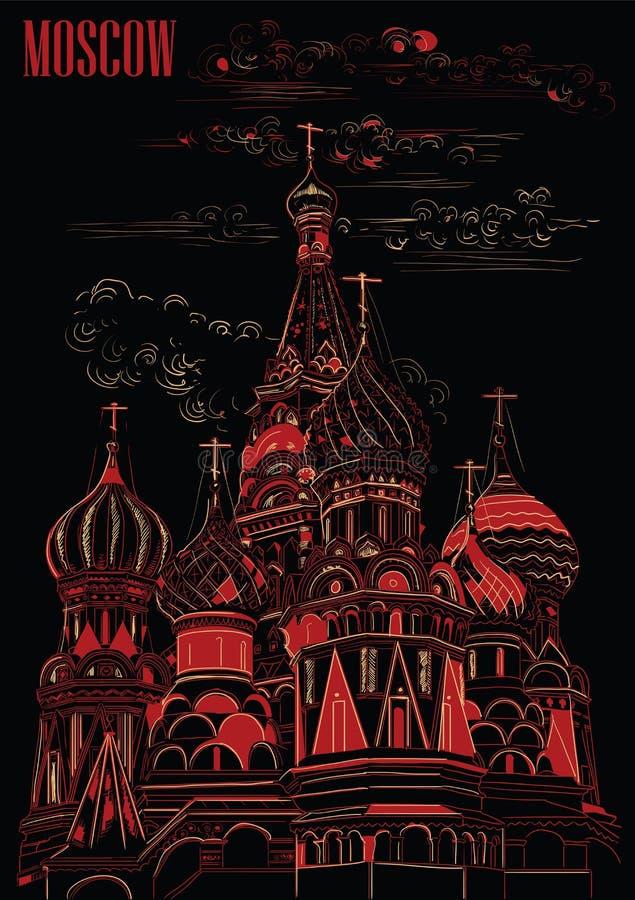 Heilig-Basilikum-Kathedrale vom Kreml Vektorhandzeichnungsillustration Moskaus, Russland in der roten und beige Farbe auf Schwarz lizenzfreie abbildung