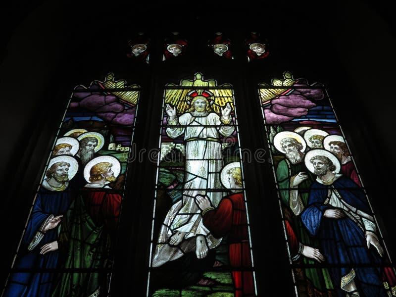 Heilig beeld - Gebrandschilderd glas royalty-vrije stock afbeelding